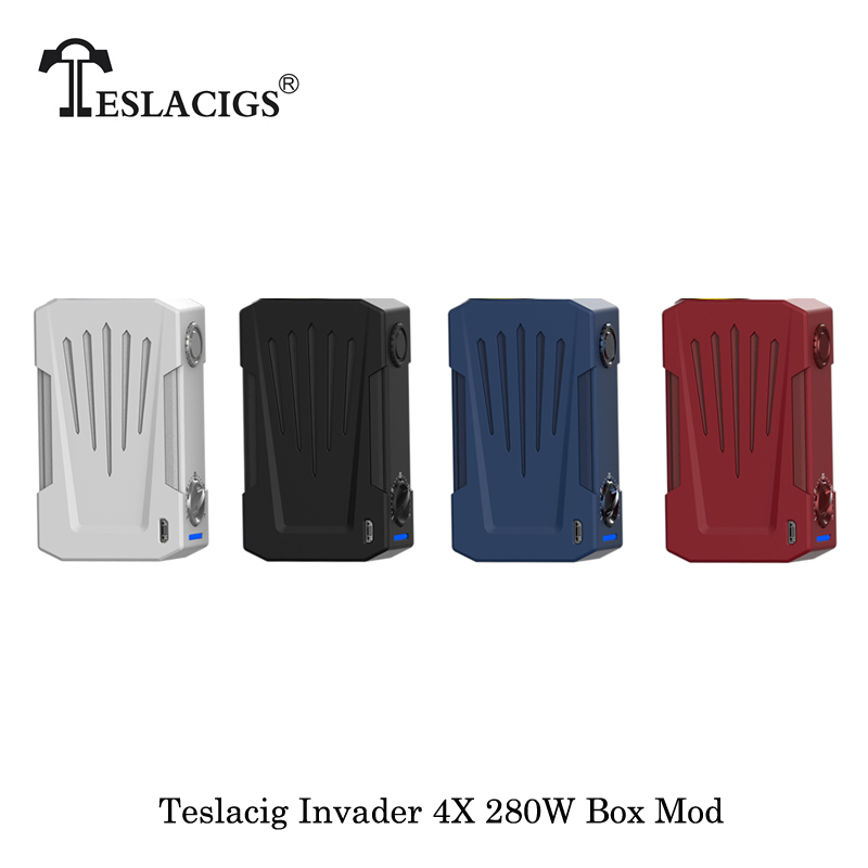 Cigarette électronique Teslacig Tesla Invader 4X280 W boîte Mod alimenté par double 18650 batterie Vape vaporisateur VS Tesla Invader 3 Mod