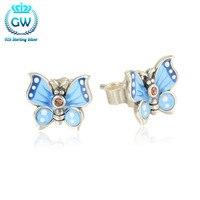 925 Sterling Silver Earrings Push Back Light Blue Enamel Butterfly Earrings Women Girls Trendy Jewelry Valentine