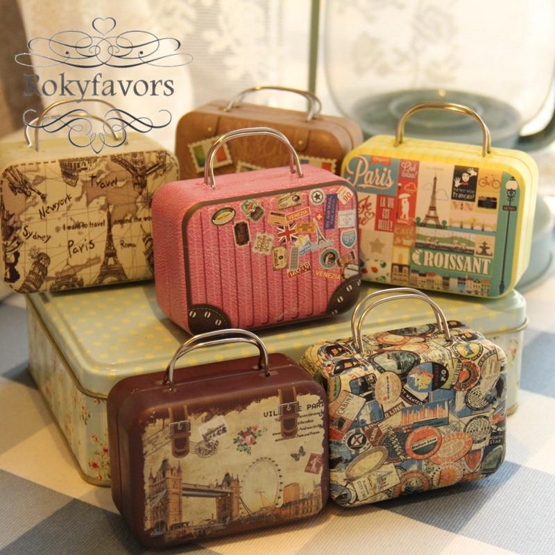 FREE SHIPPING 60PCS Rectangle Handbag Shaped Favor Tin Boxes Candy Boxes Party Favors Tin Boxes Table Setting Decor Supplies