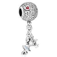 New 925 Sterling Silver Bead Charm Floating Minnie Mouse On Glittering Balloon Pendant Beads Fit Pandora Bracelet Diy Jewelry
