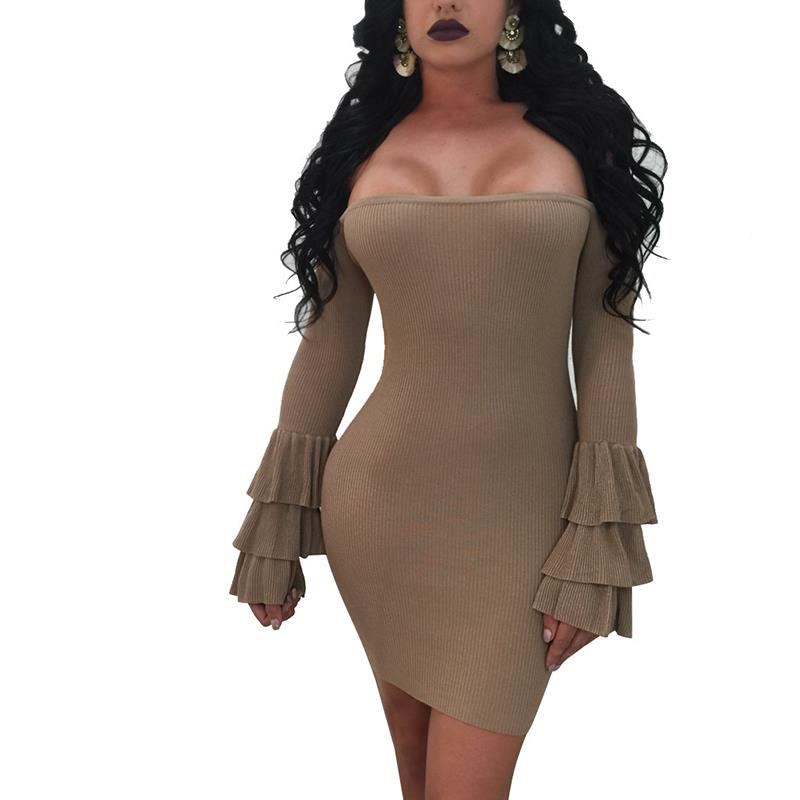 Women Party Dress Long Sleeve Sexy Off Shoulder Night Club Bodycon Dresses Elastic Knitted Dress WS4744E