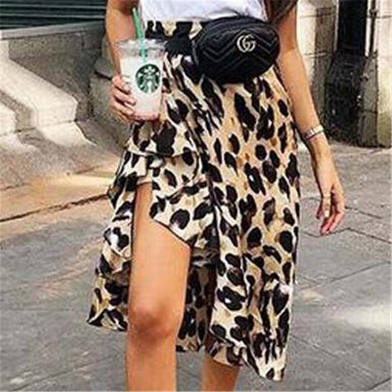 2019 Women Skirt Sexy Leopard Skirts Split High Waist Dovetail Ladies Evening Party Club Animal Print Skirts Female Bottom S-XL