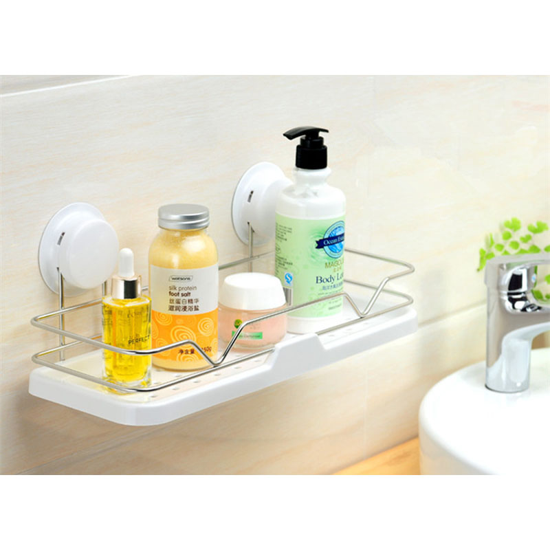 Suction Bathroom Shelf Modern Style Plastic Stainless ...