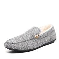 الرجال الشقق أحذية شتاء دافئ الفراء اصطف suede متعطل القيادة الأخفاف أحذية الانزلاق على الاختيار