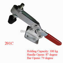 5PCS 100KG 220LBS Quick Release Holding Metal Horizontal Toggle Clamp 201C 5pc adjustable toggle clamp pull action latch hand 100kg 220lbs holding capacity