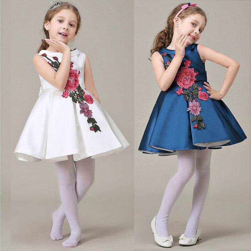 5971249a8 2018 embroidered flower Girl s Dresses Summer Flower pattern girl ...