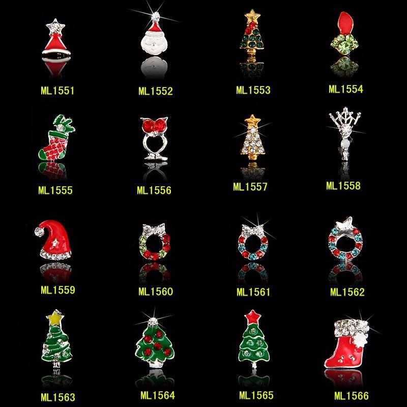100 pcs Natal 3D Da Arte Do Prego Decoração Liga Jóias Santa/Boneco de Neve Glitter Pedrinhas Para O Natal Decoração Do Feriado (Livre grátis)