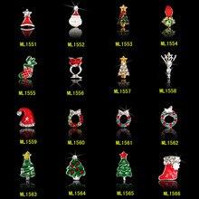 100pcs 3D Christmas Nail Art Decoration Alloy Jewelry Santa/Snowman Glitter Rhinestones For Xmas Holiday Decor (Free Shipping)