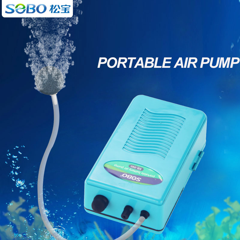 SOBO Portable Baterry Air Pump Oxygen For Fish Tank Aquarium Accessories With Oxygen Tube Air Stone Aquatic Pet Products