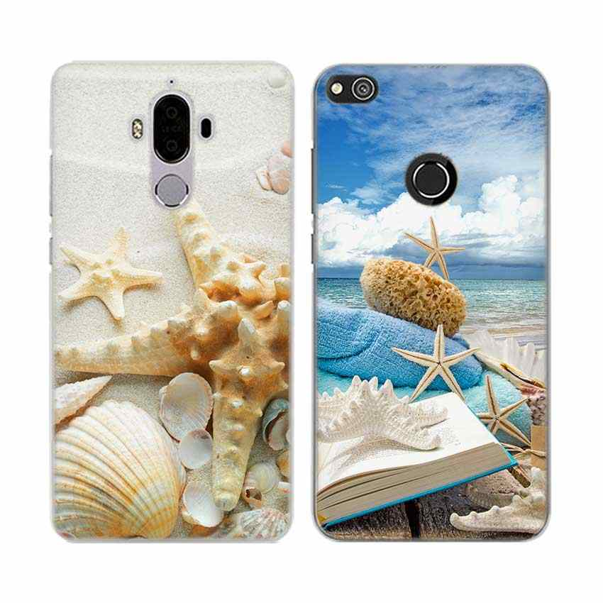Funda de teléfono dura transparente a la moda para Huawei Mate 7 8 9 S 10 20 Pro Lite X azul conchas de madera Estrella del Mar