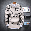 2017 New Autumn winter solid Fashion Mens Sweaters And Pullovers Men Brand Casual Sweater O-Neck Music print Slim Fit Knitting