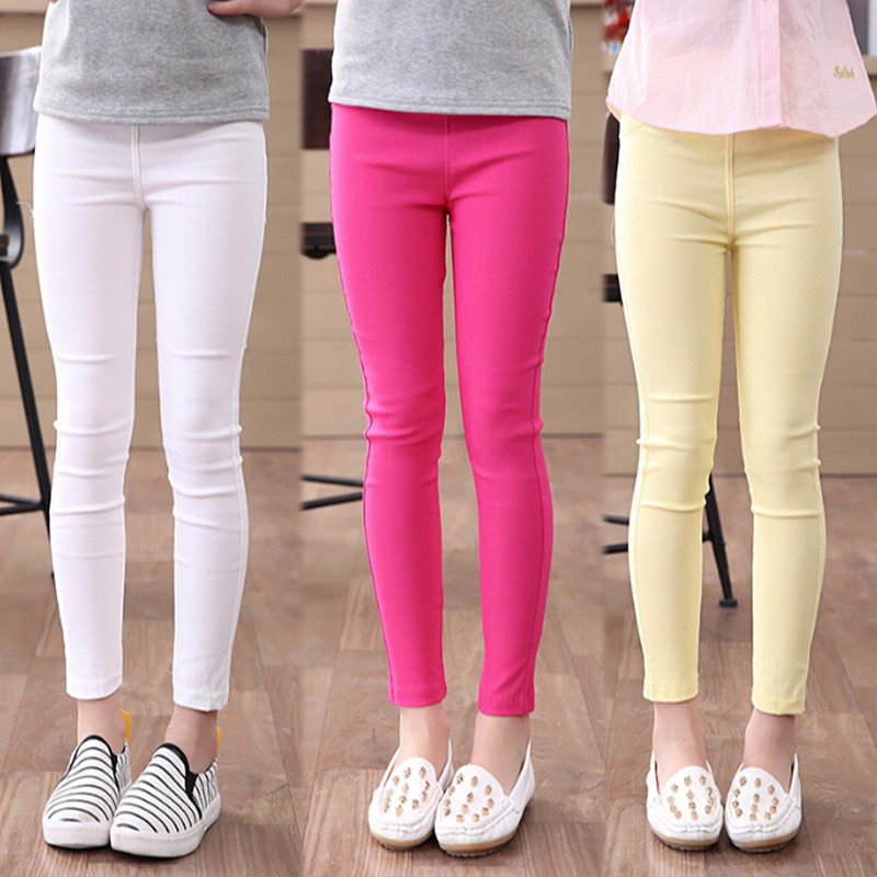 High Quality Girls Pencil Pants Spring Autumn Girls Leggings Pants Elestic Waist Children Kids Jeans Pants Solid Causal Jeans spring autumn girls butterfly flower print leggings kids children slim pants