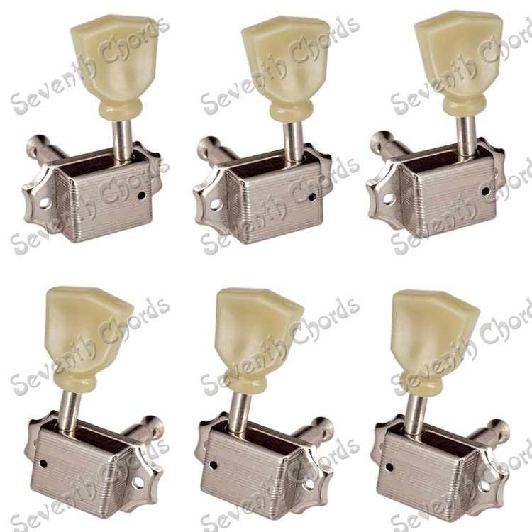 a set nickel deluxe string tuning pegs tuners machine heads for acoustic electric guitar. Black Bedroom Furniture Sets. Home Design Ideas