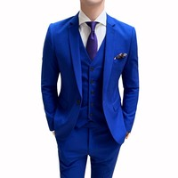 Autumn Formal Business Blazer Men Groom Slim Fit Party Clothing Single Button Wedding Dress Blue 3pc Brand New Mens Suit Jacket