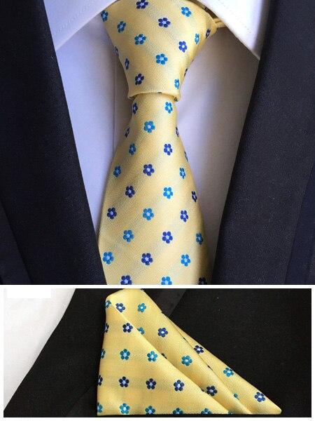 8 см Уникальный Дизайн Формальные Связи мужская Свадьба Галстук Желтый с Синим Красивые Цветы Платок