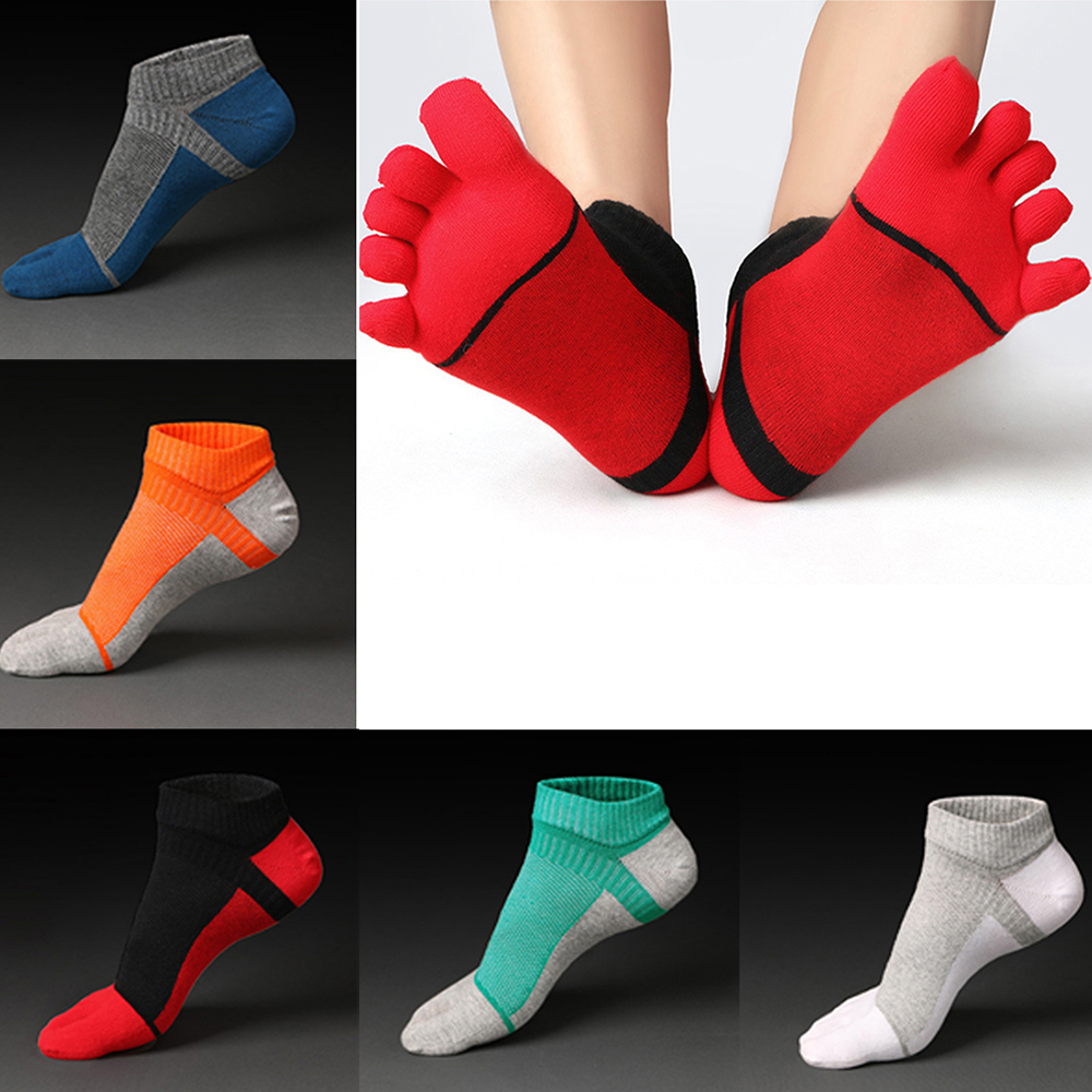 5 Pairs Multicolor Men Five Finger Toe Casual Ankle Breathable Cotton Socks for Mens Funny Socks Calcetines