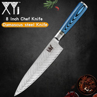 XYj Damascus Steel 8'' Chef Knife Cooking Kitchen Tools Blue Handle Fish Pattern Blade Knife Meat Fish Kitchen Hotel Gadgets