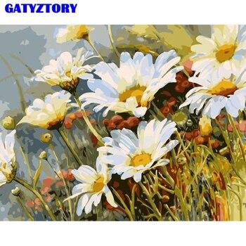 Бескаркасные хризантемы цветок DIY Краска ing по номерам современные настенные художественные наборы изображений Акриловая Краска на холсте ...