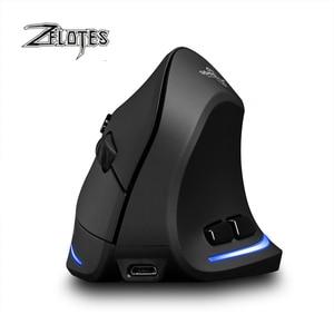 Image 2 - Mysz Raton Zelotes F 35 2.4GHz pionowy bezprzewodowy akumulator USB 2400DPI 6 przycisk komputer do gier myszy na laptopa PC