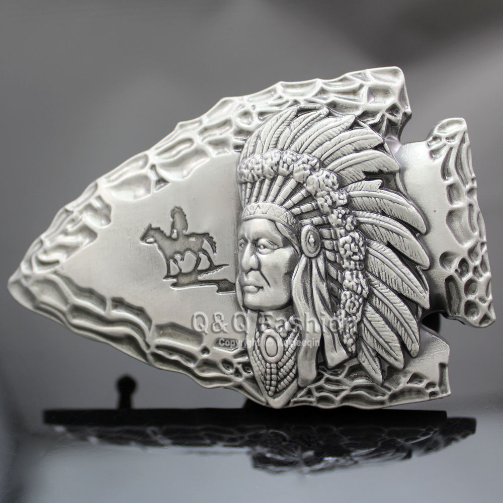 Vintage Silver Tribal 3D Indian Chief Arrow Head Rodeo Zuni Navajo Leather Tactical Designer Belt Cinto Buckle Men Jewelry