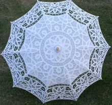 New Arrival! 10pcs/lot Lace Parasol Umbrella for wedding Bridal full batten Belgian H108