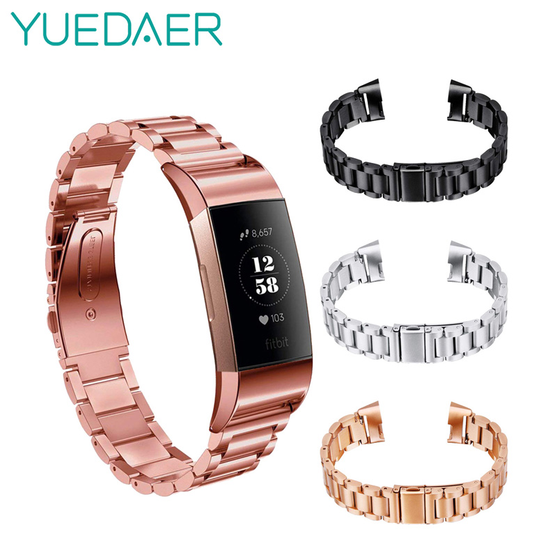 Yuedaer Metal Fitbit Charge 3 Band Strap For Fitbit Charge 3 Smart Wristband Replacement Slingshot Buckle Solid Metal BeltYuedaer Metal Fitbit Charge 3 Band Strap For Fitbit Charge 3 Smart Wristband Replacement Slingshot Buckle Solid Metal Belt