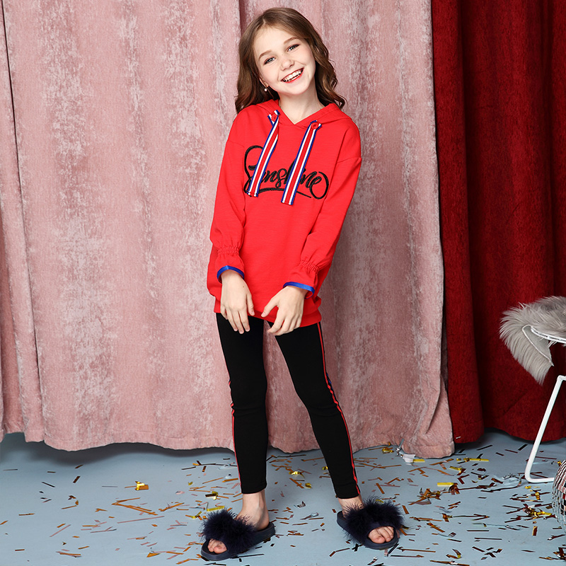 Girls' sports collision color ribbon set 2018 new style children's letter embroidery two sets. crane embroidery ribbon tape detail jacket