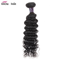Ishow Indian Human Hair Deep Wave Weave Bundles Natural Non Remy Hair Weaving Machine Double Weft