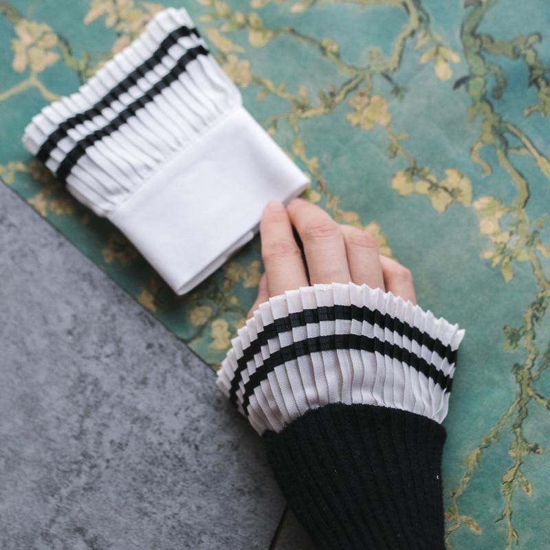 Neue Mode Bekleidung Zubehör Frühjahr Arm Wärmer Frauen Gefälschte Arm Ärmeln Orgel Manschette Plissee Horn Manschetten Großhandel la Maxpa GüNstiger Verkauf