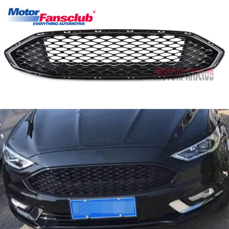 1Pcs Car Racing Grille For Ford Fusion Mondeo Grill 2016-2017 ABS Gloss Black Radiator Trim Front Bumper Modify Honeycomb Mesh 2pcs car racing grille for ford fiesta 2014 2015 2016 grill abs black radiator chrome front bumper upper lower modify mesh