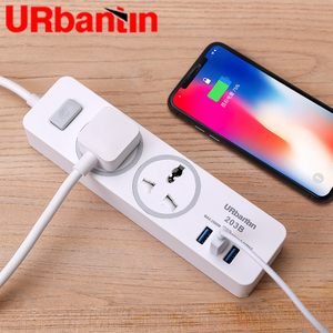 Image 2 - Urbantin regleta de alimentación con USB, enchufe de 2AC y 3, con cable de extensión inteligente, enchufe Universal con enchufe europeo, australiano, británico y estadounidense
