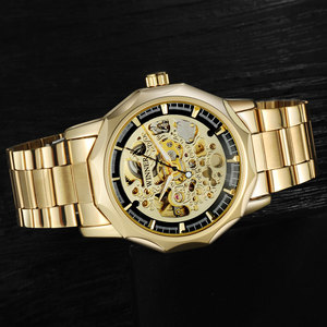 Image 2 - Kazanan marka saatler erkekler mekanik İskelet bilek saatler moda casual otomatik rüzgar İzle altın çelik kayış relogio masculino