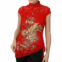 Promotion Red Chinese Women's Lace Tang Suit Totem Pattern Blouse Embroidery Shirt Tops Novelty Garment Size S M L XL XXL J010-B