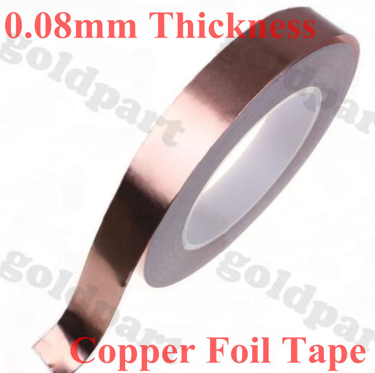 1 Roll 20mm*30 meters *0.08mm Thickness One Side Adhesive, Single Sided Conductive Copper Foil Tape, Electrical Bonding #EC28 290mm 33 meters 0 08mm single sided