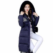2017 winter women new cotton coat hooded artificial fur collor jacket female Knee long thicker coat