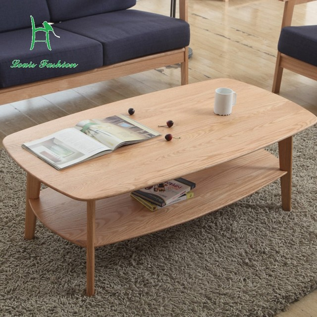 Modern Simple Living Room Oak Wood Coffee Table