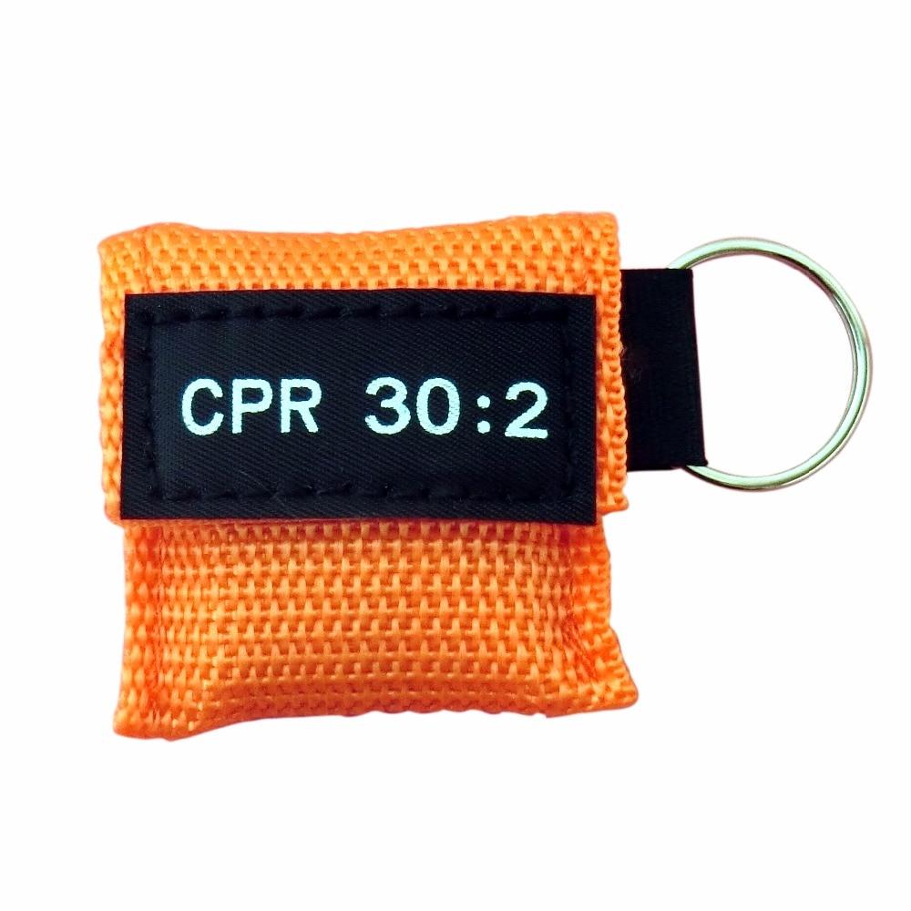 100 Pcs/Pack CPR Resuscitator Keychain Mask Key Ring Emergency Rescue Face Shield Orange