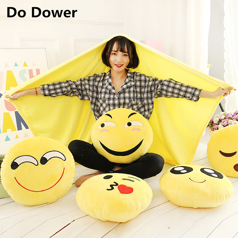 Emoji smiley face pillow cartoon expression of air conditioning is dual-purpose multifunctional pillow cushion pillow is a blank