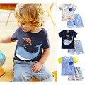 Marca 100% Algodón 2017 de Los Bebés de la Ropa Del Niño 2 unids Niños Trajes Del Bebé Del Verano Embroma la Ropa Conjuntos de Ropa de Manga Corta niños