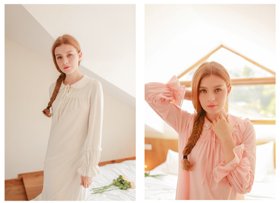 2016Spring Turn-down Collar Full sleeve cotton nightgown solid sleepwear,Sweet princess laciness lace long dress.Vute vestidos
