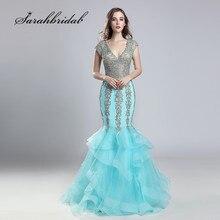 791041846c7f4 2018 yeni varış balo kıyafetleri seksi V boyun Backless Mermaid nakış boncuklu  uzun katmanlı Ruffles parti
