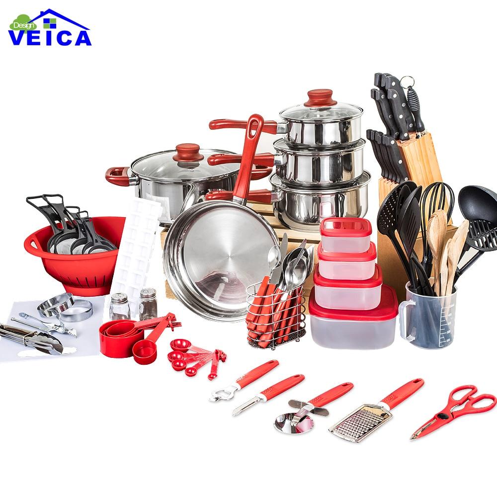 2018 Panelas De Ceramica Arrivo Fda di Alta Moda set di Pentole cottura Padelle E Pentole Set 80 Pezzo Cucina Starter Combo utensile