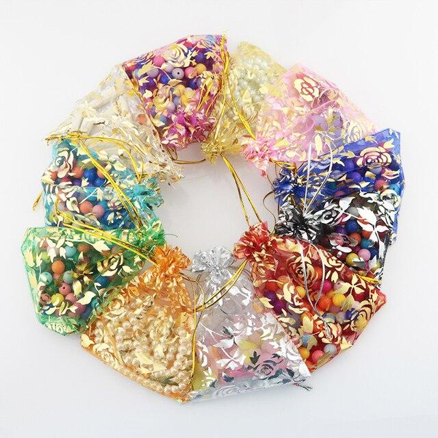 100 шт., 15x20 см, 17x23 см, 20x30, золотой цвет, любовь, сердце, роза, конфеты, подарок, рождественские сумки, украшения, упаковка