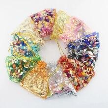 100 sztuk 15x20cm 17x23cm 20x30 złoty kolor Love Heart Rose torba z organzy ślub cukierki prezent torby świąteczne biżuteria dekoracyjna pakowanie