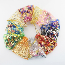 100Pcs 15x20cm 17x23cm 20x30 Gold Color Love Heart Rose Organza Bag Wedding Candy Gift Christmas Bags Jewelry Decoration Packing