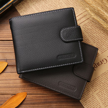 Men Genuine Leather Bags Business Wallet Card Holder Coin Pocket Mens Wallets Brand Cowhide Short Design Purse Carteras De Marca