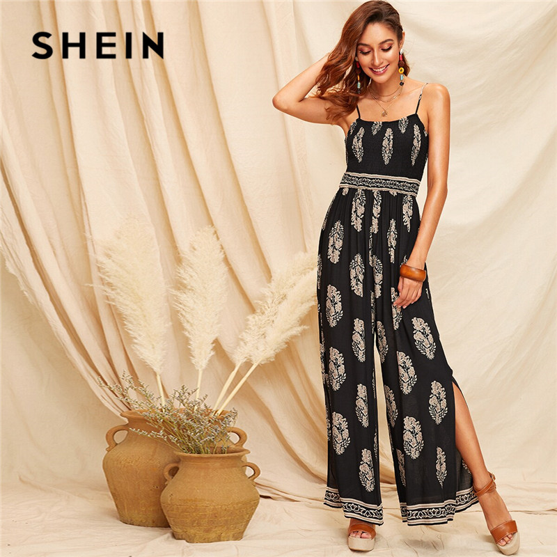 SHEIN Black Tribal Print Shirred Bodice Split Side Cami Summer Jumpsuit Women Boho Sleeveless Spaghetti Strap Sexy Jumpsuit