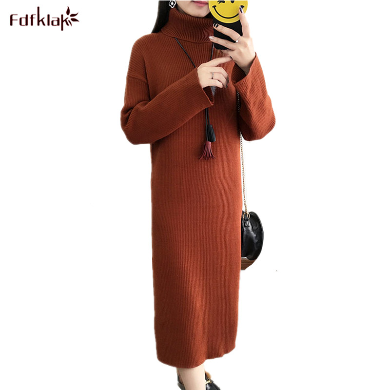 Fdfklak 2018 New Vestidos Women Long Sleeve Turtleneck Knit Dress Winter Woolen Sweater Dress Pullover Female Bottom Dresses