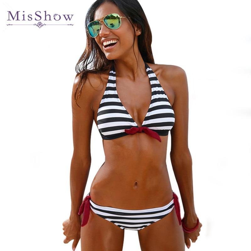 2016 Hot Sale Black Striped Bikinis Women Halter Bandages Bikinis Set Top Brazilian Push Up Swimwear Summer Bathing Suit biquini swimsuit top