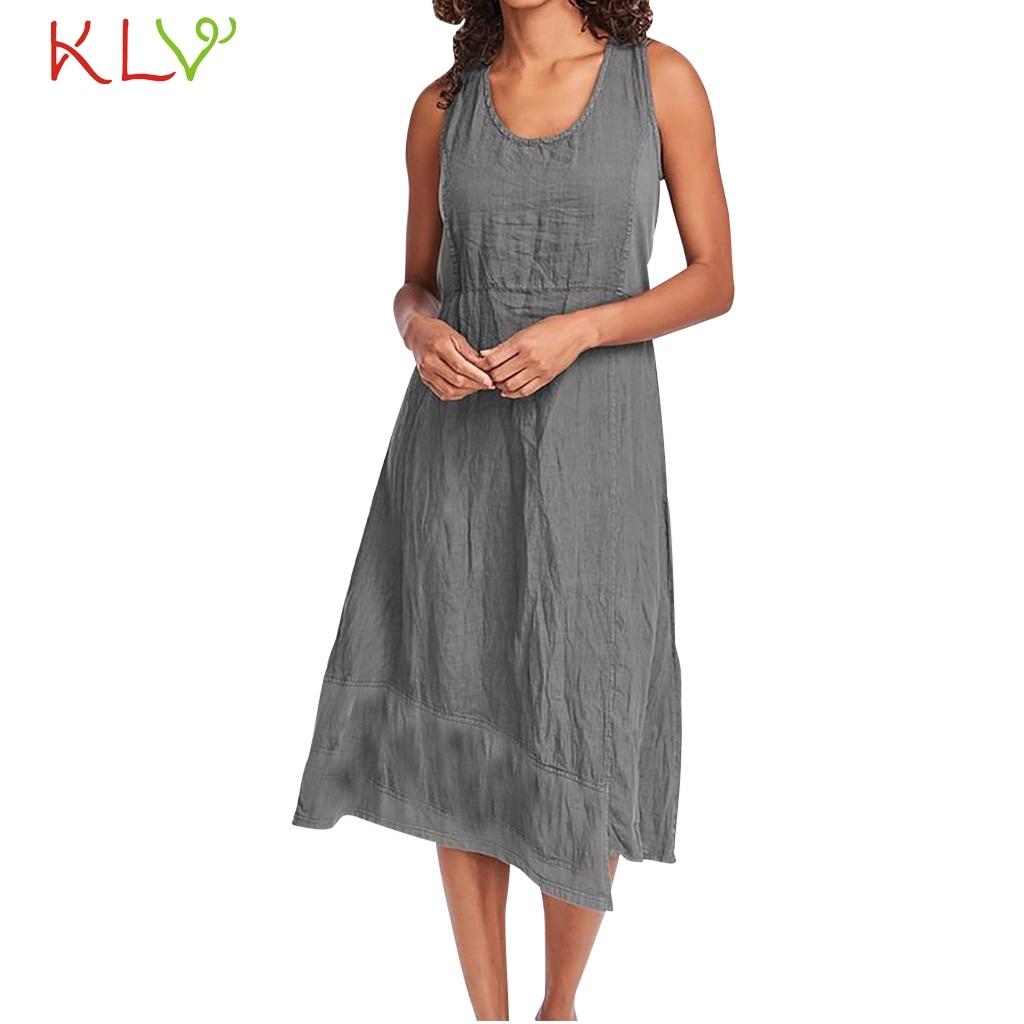 Платье женское, повседневное, из хлопка и льна, однотонное, винтажное, Пляжное, вечернее, вечернее, 2019 Платья      АлиЭкспресс